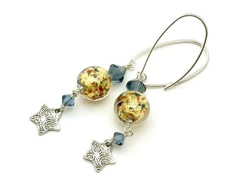 Gold Confetti Murano Glass Star Minimalist Dangle Earrings Blue   Crystal  Drop Textured for Her Under 110  Mom Girlfriend Self Gift