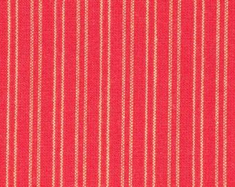 Red Stripe Ticking Fabric | Homespun Ticking Fabric | Home Decor Ticking Fabric | Cotton Ticking Fabric | Stripe Fabric | Holiday Fabric