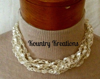 Ladder Yarn Necklace, White with accents of Gold Ribbon Necklace, Crocheted Ribbon Necklace, Fiber Jewelry (Ready to Ship)