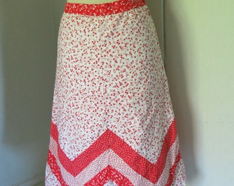 White and red floral vintage skirt