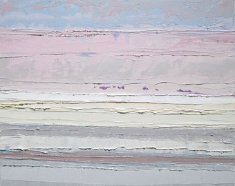 Abstract landscape painting, abstract ocean painting, serenity, pink sky painting