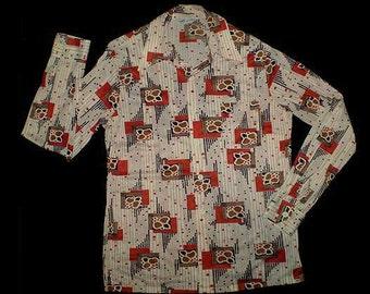 Vintage 70s Disco Shirt Deco Dots Flowers L