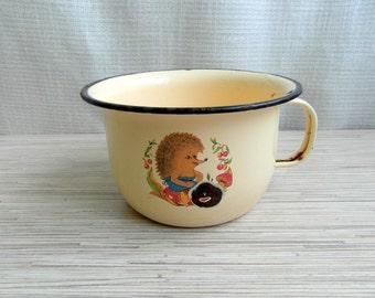 Enamel Child Chamber Pot Tan Black Trimmed With Hedgehog On Both Sides Rare Soviet Child's Chamber Pot With Handle Enamel Chamber Pot