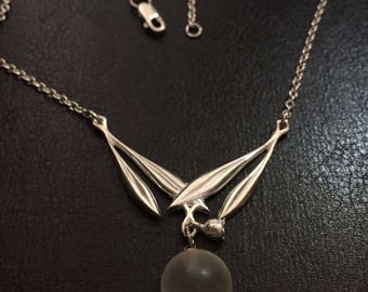 Art Deco Tulip Leaf Chevron clear ball Necklace