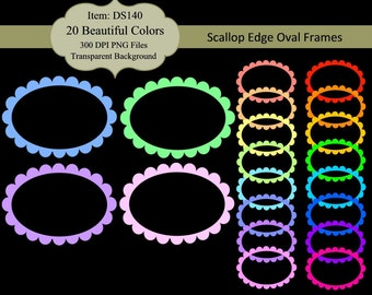 Instant Download - Scallop Edge Oval Frames Clip Art - Scrapbooking, Invites, Tags, Labels - Commercial Use DS140