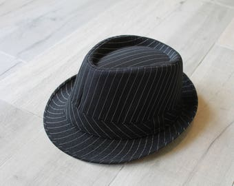 Black pin striped fabric fedora