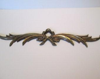 "Vintage Brass Bow Applique 8.5"""
