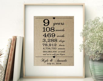 9 Years Together | Years Months Weeks Days Hours Minutes Seconds | Personalized Burlap Print | 9th Wedding Anniversary Gift for Wife Husband