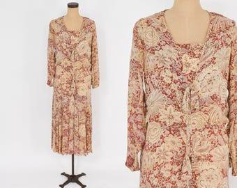 20s 30s Beige Silk Print Dress   Creme Floral Print Silk Chiffon Day Dress   Medium