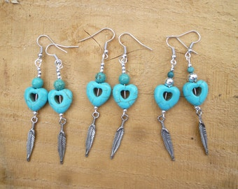 turquoise heart feather earrings