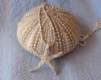 Medium Cubic Zirconia Style Starfish on Diamond Cut Sterling Chain, Beachy, Sealife Necklace, Seaside, Beach Weddings, Bridemaids