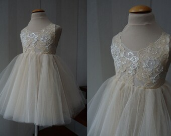 DONNA  Champagne Gold Lace Tulle Flower Girl Dress Wedding Bridesmaid Dress
