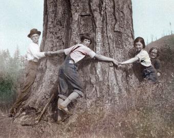 Family of Tree Huggers Tinted Vintage Photo Print