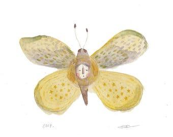 butterfly soul art, moth, decorative art, surreal painting, mystical, spiritual, yellow butterfly illustration, ORIGINAL artwork