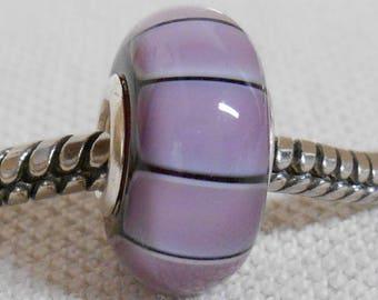 Large Hole Glass Lampwork Bead European Charm Bead Purple Color Stripes Silver Cored