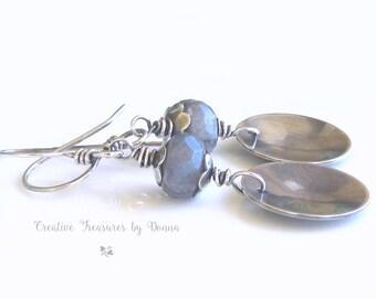 Blue Spectrolite Gemstone Earrings Sterling Silver Earrings Silver Concaved Discs Oxidized Earrings Trending Jewelry