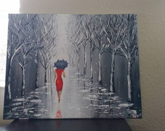 Lady in Red - Hand painted