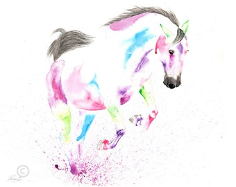Beautiful Equine horse art canter movement based print  from an original watercolour painting  sketch individually signed
