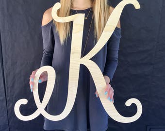 """Large Wood Inital Sign, 23"""" inches Tall, Large Single Letter Monogram Sign, Laser Cut Sign, Wooden Sign, Backdrop Sign, Wood Sign"""