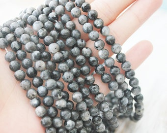 Larvikite 6mm Round A quality - Black Labradorite Beads Gemstone Supply