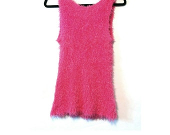 SALE 90s Fuzzy Hot Pink Tank Top L