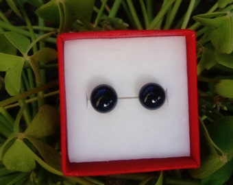 Murano glass, Lampwork, black Stud Earrings