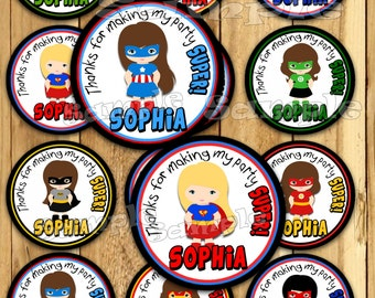 Girl Superhero Thank you tags Baby Shower stickers super hero Party favor tags Custom Gift tags Cupcake toppers Birthday Party tags PRECUT