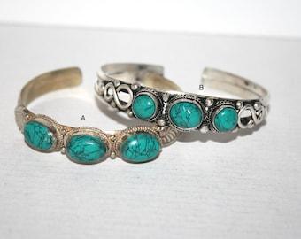 Turquoise Bracelet, Boho bracelet, Silver Bracelet, Brass bracelet, Tribal Bracelet, Gypsy bracelet, Hippie Bracelet, Tibetan bracelet