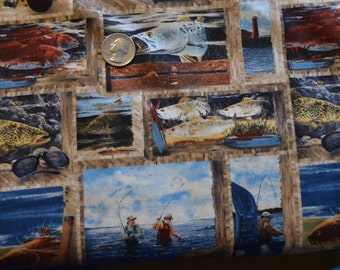 """WILMINGTON FABRIC, """"Reel Em In"""", Collage, 100% Cotton"""