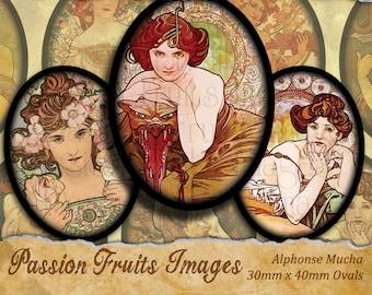 Alphonse Mucha Art Nouveau digital collage sheet 30x40 Ovals---Instant Download