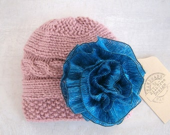 Baby Girl Hats - Baby Girl Knit Hat - Knit Newborn Hat - Baby Hat with flowers-Baby Winter Hat