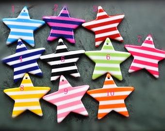 3  Striped Star Charms