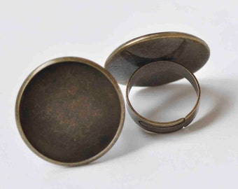 10 pcs Antique Bronze Adjustable Round Ring Blank Shank 25mm Bezel A2350