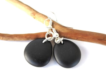 Rock Earrings Beach Stone Earrings Natural Sea Stone Earrings Mediterranean Jewelry River Stone Earrings Pebble Earrings Silver OLIVE