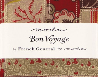 """SALE!! Bon Voyage Fabric Charm Pack by French General for Moda Fabrics - 5"""" Squares"""