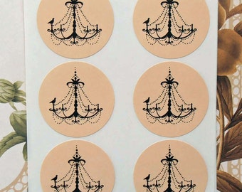 French Chandelier Wedding Stickers Envelope Seals Party Favor Treat Bag Sticker SP017