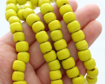 10pc yellow glass beads, large glass beads, lime, lampwork, large hole beads, rondelle beads, barrel beads, lampwork beads, tube beads