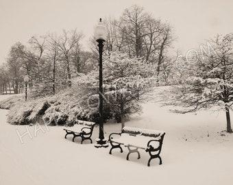"Sepia Print ""Snowy Park Benches"""