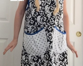 Craft Apron Pinny Valentine Gift Artists Apron Painting Apron Crafting Apron Loose Fit Slip On Ladies Apron Long with Pockets