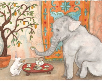 Tea with Elephant - Fine Art Rabbit Print