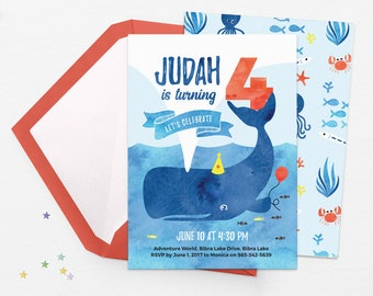 Under the sea invitations, Kids party invitations, Printable birthday invitations Pool party invitations Kids birthday invites Whale invites