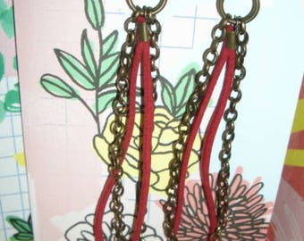 """Uses Coupon Code """"HELLO"""" Layed Leather and Chained Dangle Earrings"""