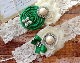 wedding garter  / EMERALD / bridal  garter/  lace garter / toss garter /  garter / vintage inspired lace garter/ U PICK Color