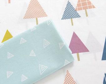Pastel Triangle Cotton Fabric, White Blue Cotton Fabric with Little Triange Pine Trees- Fabric 1/2 Yard