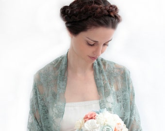 Sage wedding Lace Shrug, 4 Options Top- Shawl, Shrug, Crisscross And Scarf. Bride Or Bridesmaids Bolero, Sage Cover Up, Green Lace Shrug