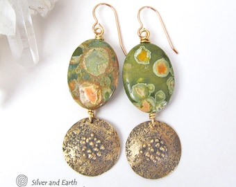 Rainforest Jasper Earrings, Hammered Brass Earrings, Gold Dangle, Natural Stone Jasper Jewelry, Green Stone Earrings, Rustic Earthy Earrings