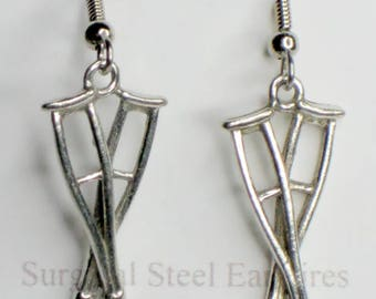 Crutches earrings - pewter on surgical steel wires - Nickel free