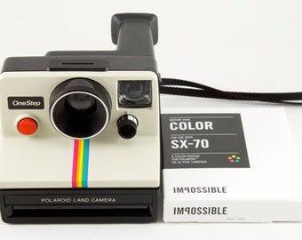 Vintage Polaroid OneStep SX-70 White Rainbow Stripe Instant Camera with One Pack of New Polaroid Originals Color Film - Tested & Working