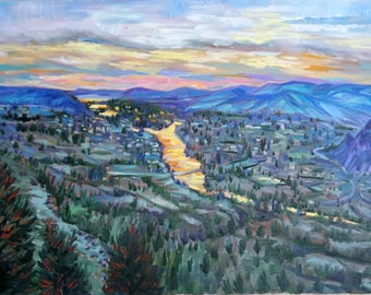 Original Oil painting, Sunset - Landscape of BC Cancada
