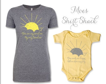 Mommy and Me Shirt Set. You Are My Sunshine. Mommy and Me. Mommy and Baby Set. Mommy and Me Clothing. Mommy and Me Outfits.